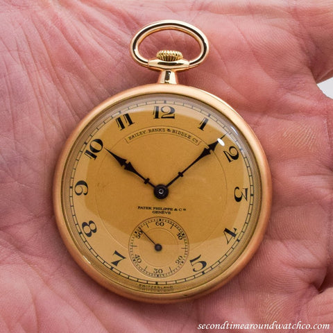 1927 Vintage Patek Philippe Pocket Watch 18K Yellow Gold Watch