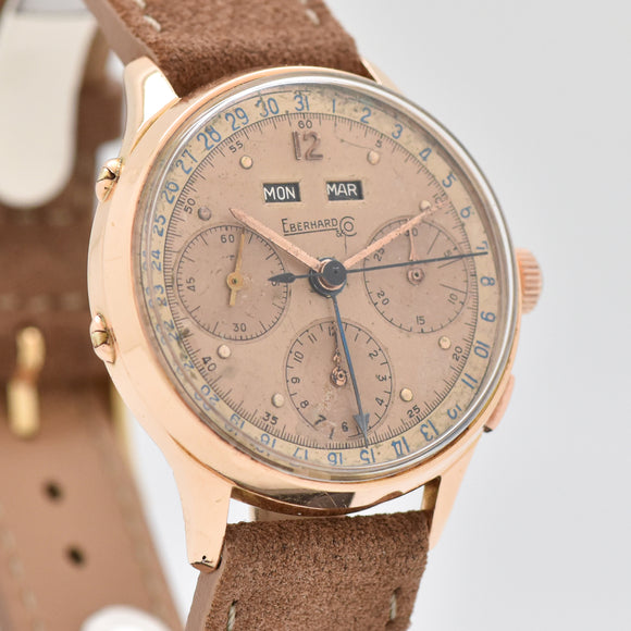 1940's Vintage Eberhard & Co. Triple Date 3-Register 18k Rose Gold Chronograph Watch