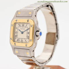 1990's Cartier Santos Mid-size 18k Yellow Gold & Stainless Steel Watch
