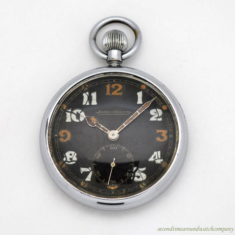 1940's Vintage Jaeger LeCoultre Pocket Watch Stainless Steel Watch