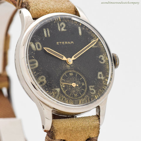 1942 Vintage Eterna Military WWII-era Stainless Steel Watch