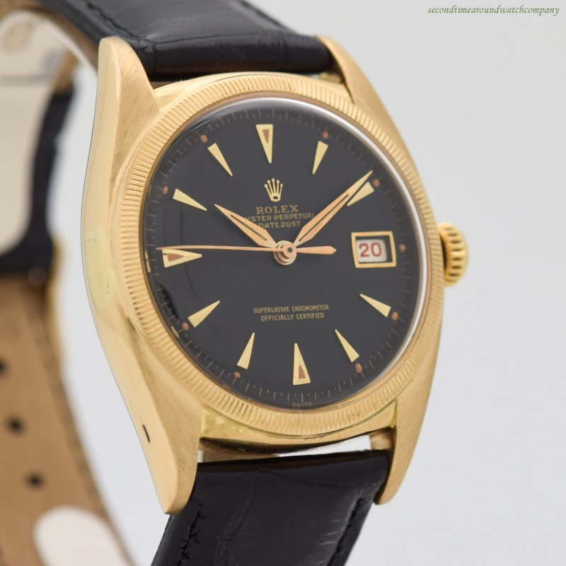 1952 Vintage Rolex Datejust Ovettone Reference 6105 18k Yellow Gold Watch