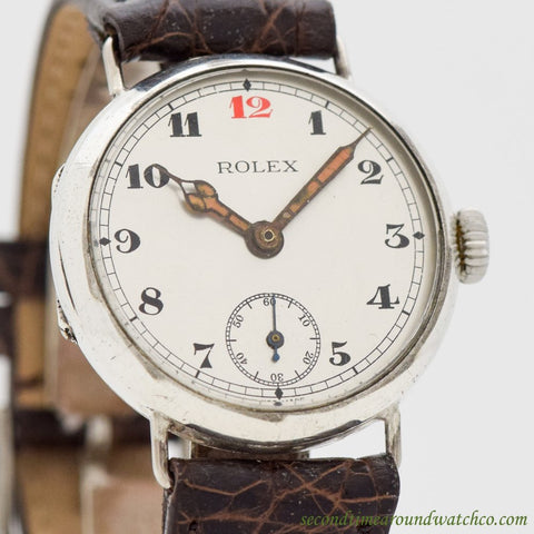 1910's Vintage Rolex Military WWI-era Silver Watch