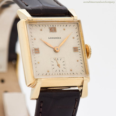 1946 Vintage Longines Rectangular-shaped 10k Yellow Gold Filled Watch