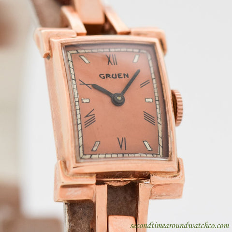 1940's Vintage Gruen Ladies 14K Rose Gold Watch