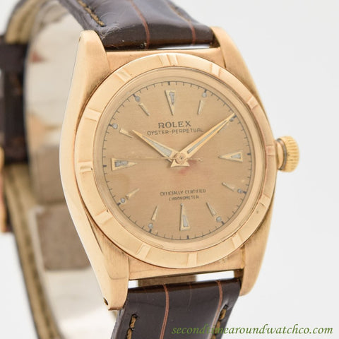 1948 Vintage Rolex Bubbleback Ref. 4777 14k Rose Gold Watch