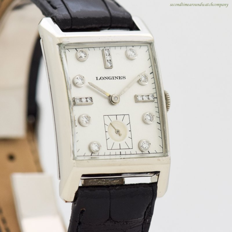 1950 Vintage Longines 14k White Gold Watch