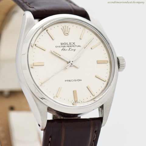 1966 Vintage Rolex Air-King Reference 5500 with a Linen Dial Stainless Steel Watch