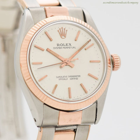 1965 Vintage Rolex Oyster Perpetual Mid-Size 14k Rose Gold & Stainless Steel Watch