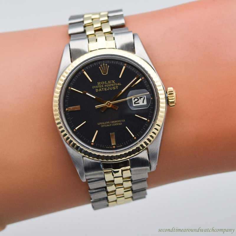 1969 Vintage Rolex Datejust Reference 1601 Two-tone 14k YG & SS Watch