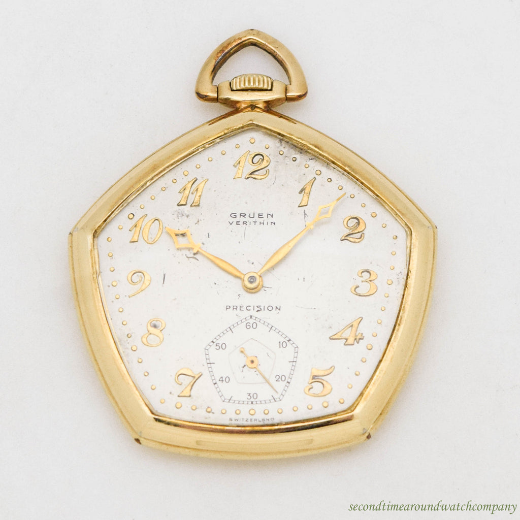 1940 Vintage Gruen Ultra Verithin Precision 14k Yellow Gold Filled Pocket Watch