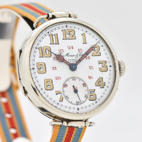 1910's Vintage H. Moser & Cie Military WWI-era Nickle Watch