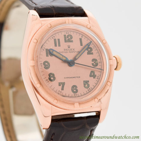 1944 Vintage Rolex Bubbleback Ref. 3725 14k Rose Gold & Stainless Steel Watch