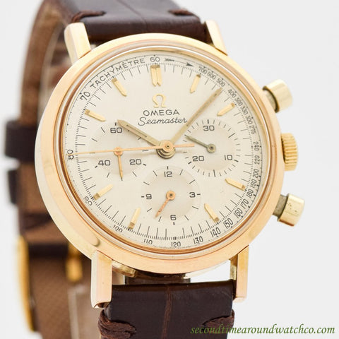 1966 Vintage Omega Seamaster 3-Register Chronograph Ref. 105.005-66 14K Yellow Gold Plated Watch