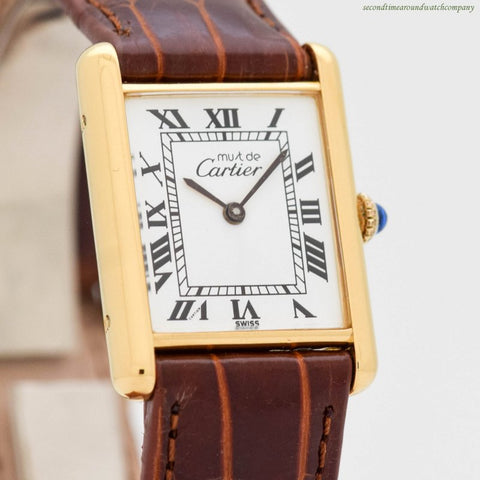 1990's Cartier Tank Must De 18k Yellow Gold Plated Men's Watch