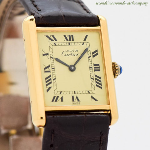 1990's Cartier Tank Must De Men's Sized 18k Yellow Gold Plated Watch