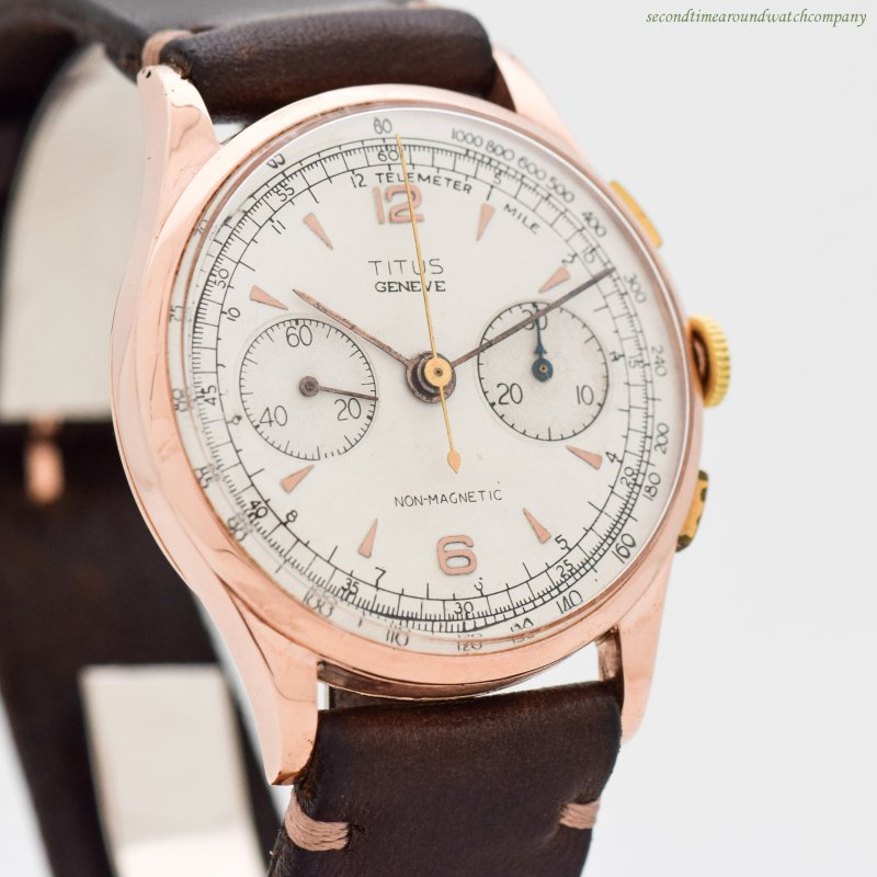 1940's Vintage Titus 2-Register Chronograph 18k Rose Gold Watch