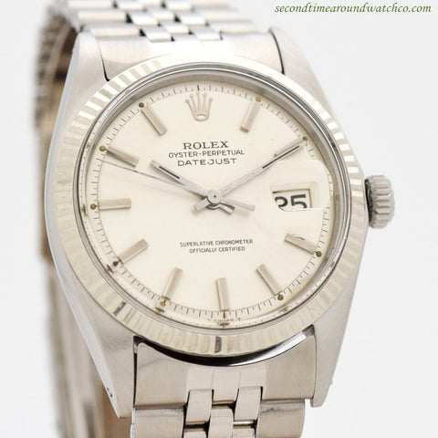 1966 Vintage Rolex Datejust Ref. 1601 14k White Gold & Stainless Steel Watch