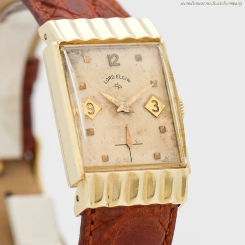 1955 Vintage Elgin Rectangular-shaped 14k Yellow Gold Filled Watch