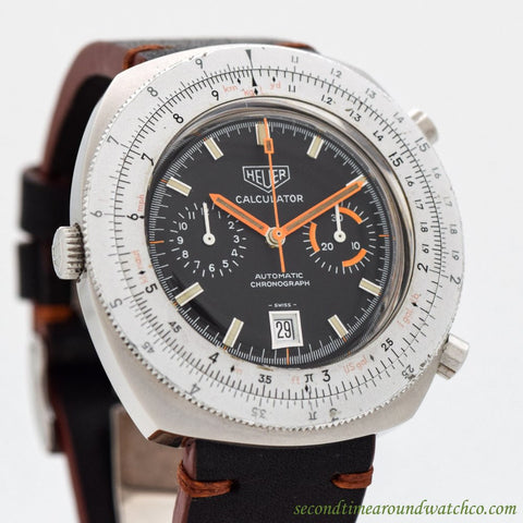 1970's Vintage Heuer Calculator Chronograph Ref. 110.633 Stainless Steel Watch