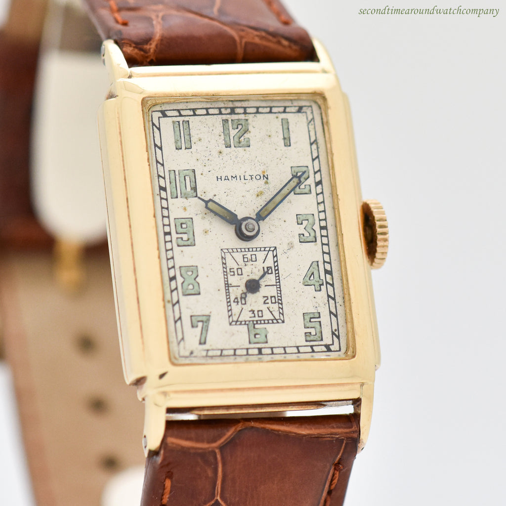 1930 Vintage Hamilton Andrews Rectangular-shaped 14K Yellow Gold Watch