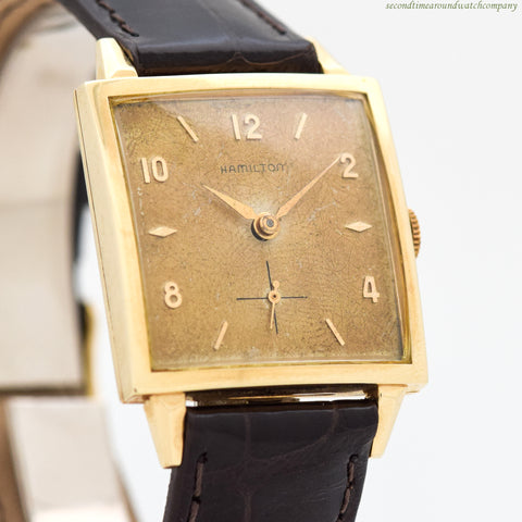 1960's Vintage Hamilton Square-shaped 14k Yellow Gold Watch