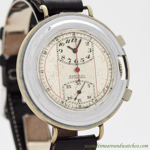 1950's Vintage Harvard 2 Register Chronograph Model 72 Nickle & Chrome Watch