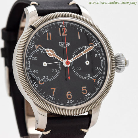 1950's Vintage Heuer Monopoussoir Chronograph Stainless Steel Watch