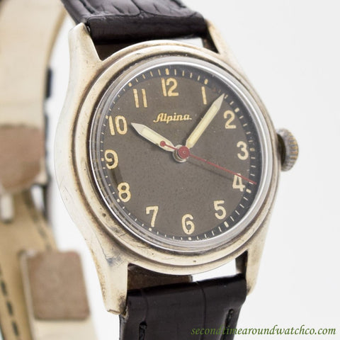 1940's Vintage Alpina Military WWII-era Stainless Steel Watch