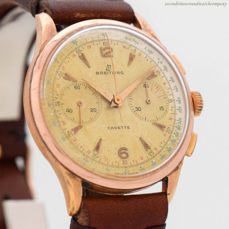 1955 Vintage Breitling Cadette Ref. 1185 18k Rose Gold Watch