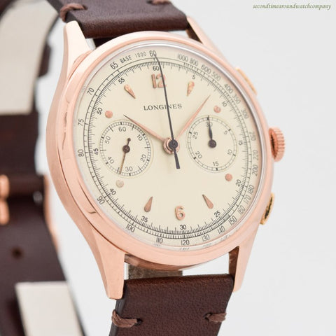 1949 Vintage Longines 2-Register Chronograph 18k Rose Gold Watch