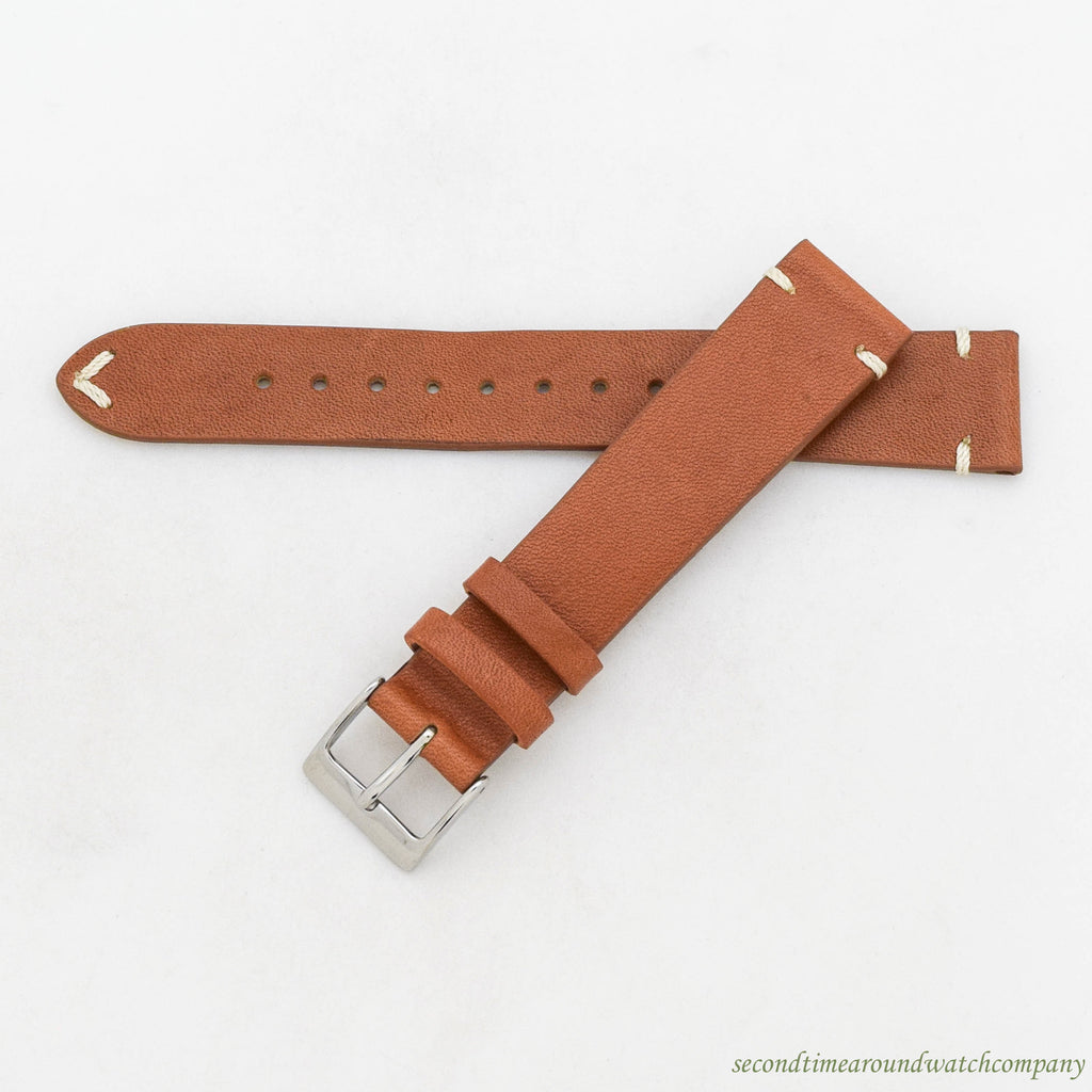 Horween Genuine Leather Light Brown-colored Watch Strap