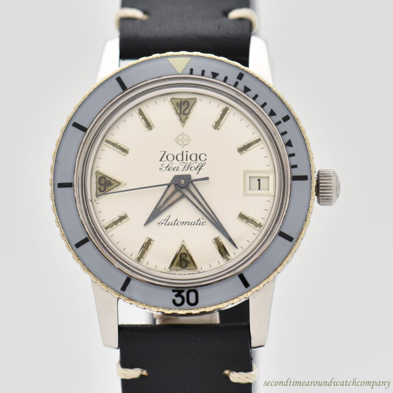 1960's Vintage Zodiac Sea-Wolf Reference 722-946B Stainless Steel Watch