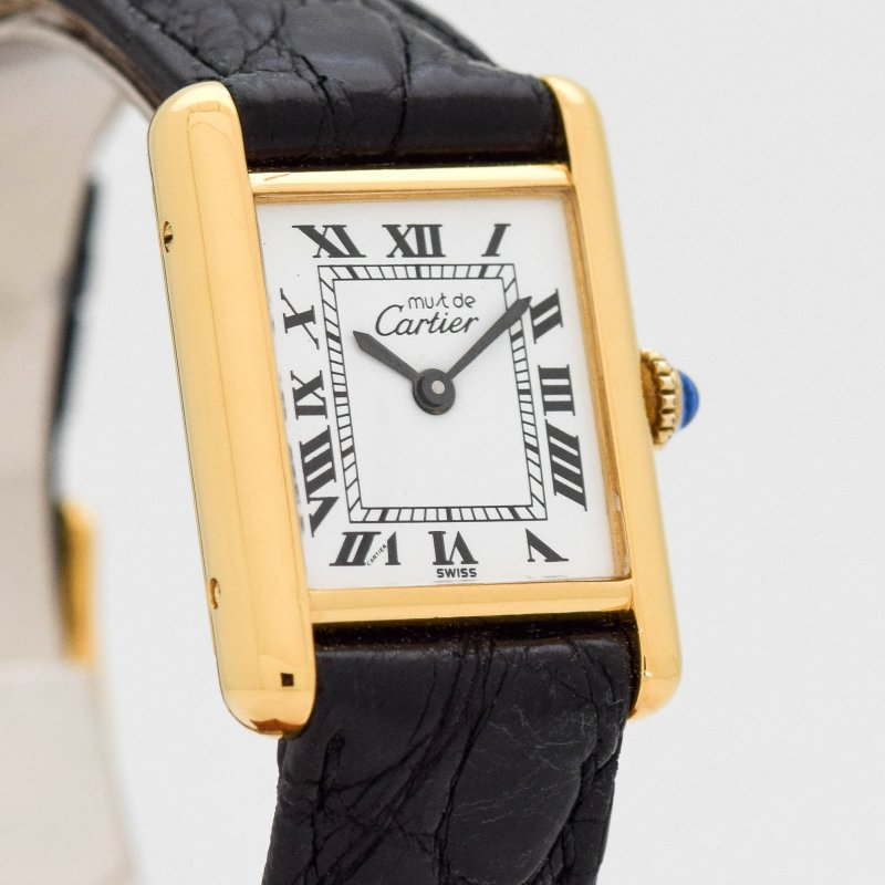 1980's era Cartier Tank Must De Ladies 18k Yellow Gold Plated Watch