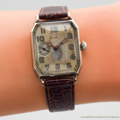 1923 Vintage Illinois Rectangular-shaped 14K White Gold Filled Watch