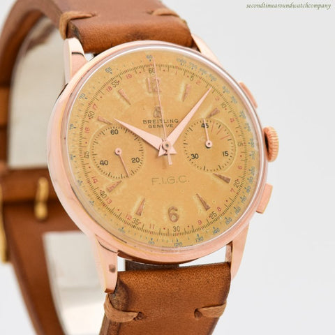 1956 Vintage Breitling 2-Register Chronograph Rose Gold Filled Watch