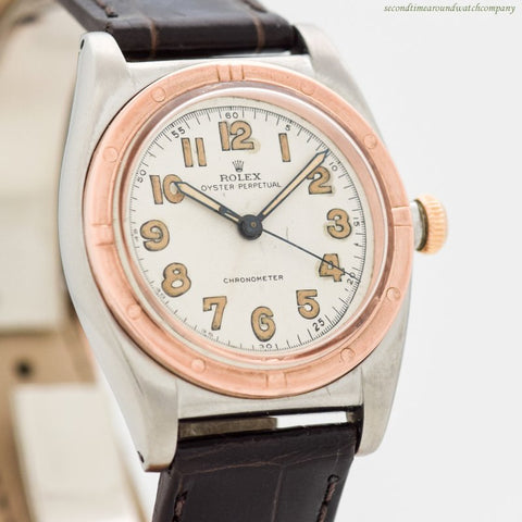 1944 Vintage Rolex Bubbleback Ref. 3372 10k Rose Gold & Stainless Steel Watch