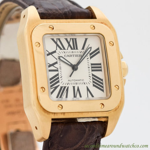 2000's Cartier Santos 100 Midsize 18k Yellow Gold Watch