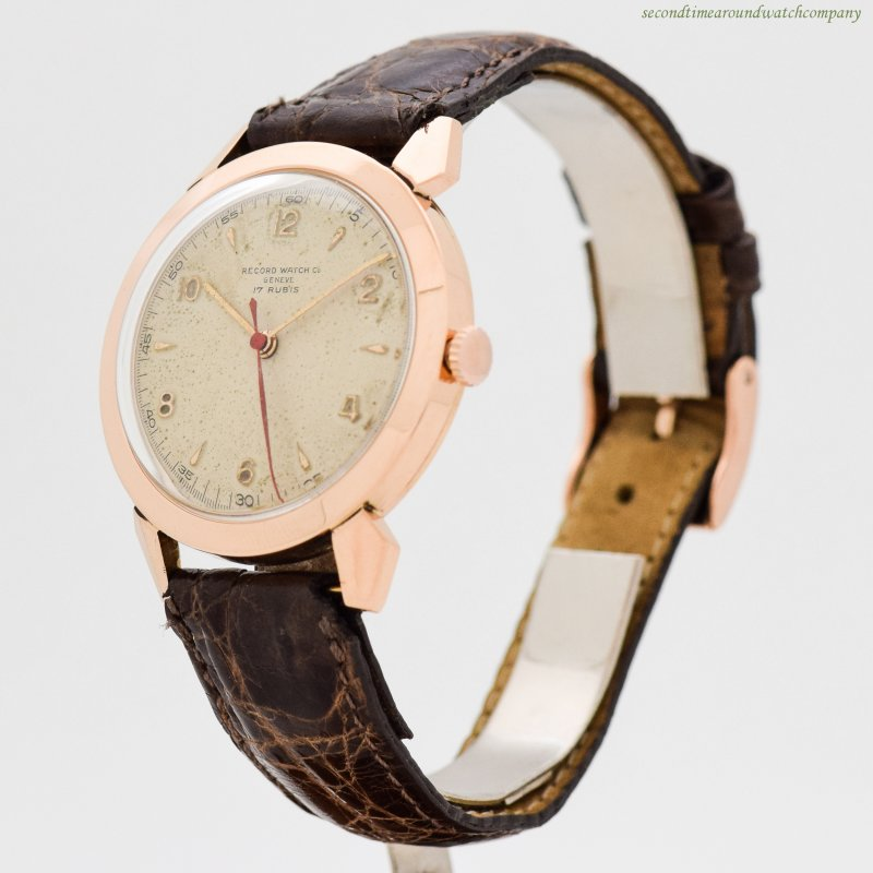 1950's Vintage Record Watch Co. 18k Rose Gold Watch