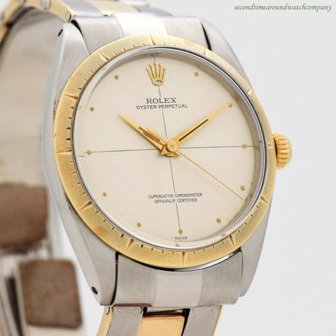 1963 Vintage Rolex Oyster Perpetual Zephyr Ref. 1008 14k Yellow Gold & Stainless Steel Watch