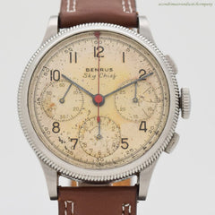 1940's Vintage Benrus Sky Chief Jumbo Stainless Steel Chronograph Watch