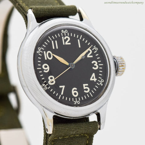 1944 Vintage Elgin WWII-era Military Type A-11 Chrome & Stainless Steel Watch Watch