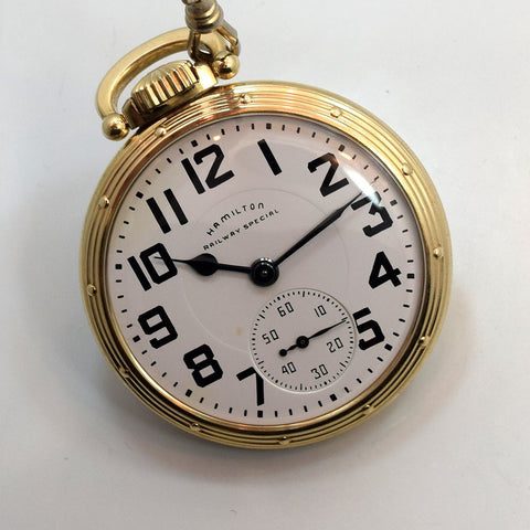 SOLD 1940 Hamilton Railway Special Pocket Watch 10k Yellow Gold Filled