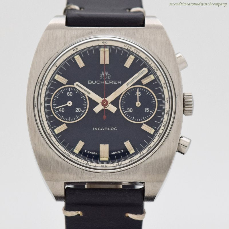 1970's Vintage Bucherer 2-Register Chronograph Stainless Steel Watch