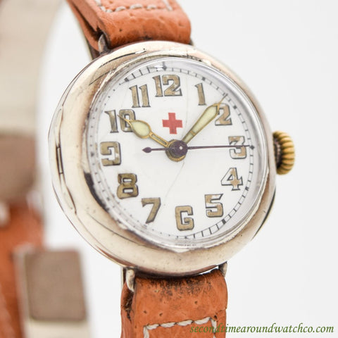 1910's Vintage Rolex WWI-era Military Nurse Silver Watch