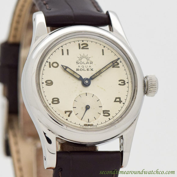 1945 Vintage Rolex Solar Aqua Stainless Steel Watch