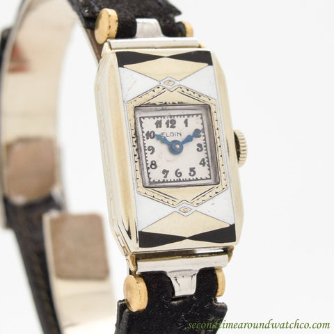 1930 Vintage Elgin Ladies 14K White Gold Filled Watch