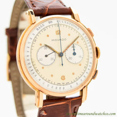 1950's Vintage Movado 2-Register Chronograph 18k Rose Gold Watch
