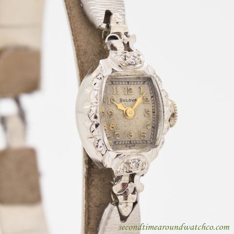 1950's Vintage Bulova Ladies 14k White Gold Watch