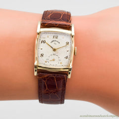 1950 Vintage Lord Elgin Rectangular-shaped 14k Yellow Gold Filled Watch